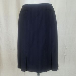 Brooks Brothers navy blue with pinstripe skirt.